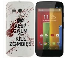 Schutzhülle f Motorola moto G Tasche Case Silikon keep calm and kill zombies