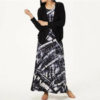 Attitudes by Renee Printed Maxi Dress with Cardigan Color Black/Tie Dye Size M
