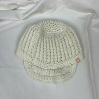 DC Heave Knit White Womens Beanie Crochet One Size Fits All With Bill