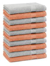 Betz Lot de 10 serviettes débarbouillettes Premium orange & gris argenté