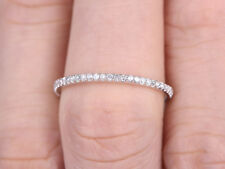 0.20Ct Round Eternity Rings In 14K White Gold Over Thin Micro Pave Wedding Band