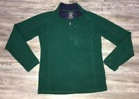 Men's LL Bean Fleece Green Quarter Zip Sweatshirt Size Small Regular Fit