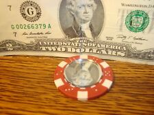 MIRROR Reflection Dice design Poker Chip,Golf Ball Marker,Card Guard Red/White
