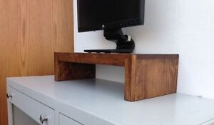 TV Riser Stand in Modern Style Solid Pine with Coffee Finish