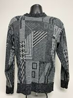 Vintage Le Tigre Sweater Geometric Pattern Black/Gray Made In USA Men's Large L