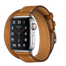 Apple Watch Series 4 Hermès 40 mm Stainless Steel Case with Fauve Barenia Leather Double Tour (GPS + Cellular) - (MU712X/A)
