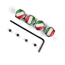 Italy Italian Flag - Tire Rim Valve Stem Caps - Chrome Silver 4Pcs for Honda