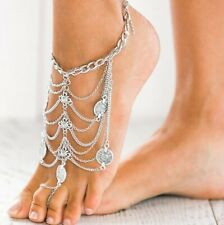 sandals one size sexy bohemian feet Pair of coin tassle boho barefoot