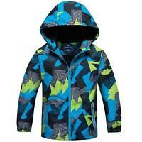Boys Kids Windbreaker Jacket Hooded Hoodie Camouflage Coat Casual Zipper Outwear