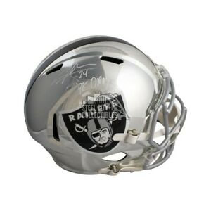 Charles Woodson 98 DPOY Autographed Raiders Chrome Full-Size Football Helmet BAS