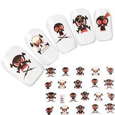 TATTOO NAIL ART ADESIVI TESCHIO SKULL GLITTER UNGHIE sticker NUOVO!