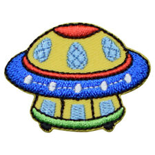 "UFO Applique Patch - Space Station, Spaceship, Alien Badge 1-5/8"" (Iron on)"