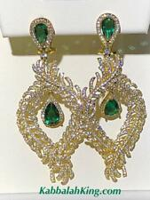Yellow Gold Sterling Silver Green White Sapphire Large Long Chandelier Earrings