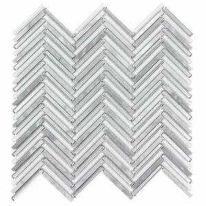 Classic .25X2 Herringbone Beige Metallic Glossy & Frosted Glass Mosaic  MTO0512