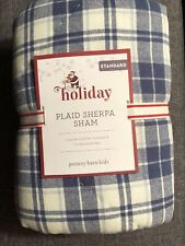 Pottery Barn Kids Holiday Sherpa Standard Quilted Sham Blue Plaid NEW