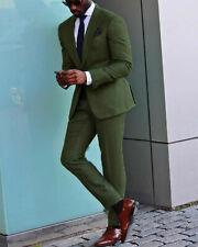Hombre Verde Trajes Elegante un Botón Diseñador Novio Boda Cena Abrigo +