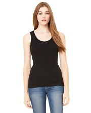 Bella 4000 Ladies Womens Tank Top Shirt 2x1 Rib Cotton Black 2XL