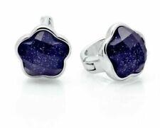 925 Sterling Silver Natural Blue Sandstone 8mm Flower Stud Leverback Earrings