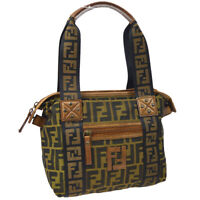 FENDI Zucca Pattern Hand Bag Purse Brown Black Canvas Leather Italy 36886