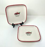 "Rae Dunn Christmas Square 8"" Plates Red Truck Christmas Tree Home Holidays Set 2"