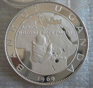 UGANDA 20 Shillings 1970 Silver PF Pope Paul VI Visit