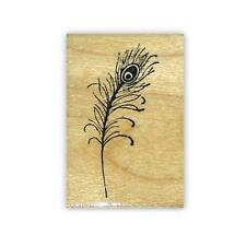 Peacock Feather small Mounted rubber stamp, fantasy, bridal shower, wedding #15