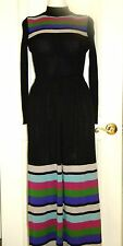 Vintage sweater dress Italian wool turtleneck maxi XS black color stripes