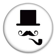 """Bowler Hat Moustache 25mm 1"""" Pin Badge Button Vintage Indie Geek Pipe"""