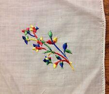 Vintage Ladies Handkerchief floral design Embroidered Very Nice