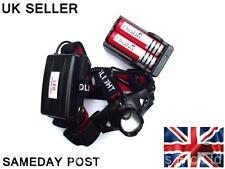 CREE LED Q5 5W 300 LUMENS ZOOMABLE/FOCUSABLE HEADLIGHT TORCH POWER PACK