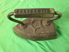 Geneva, ILL #8 Vintage Metal Clothes Iron - Antique Ironing - Old