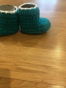 Handmade Knitted Boot Bootie Teal & White- 3-6 Months