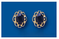 Sapphire Earrings Solid Gold Studs Heart Oval Stud 9 Carat Hallmarked
