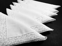 "6 Vintage White Napkins Woven Linen Cotton with Flower Lace Trim 16.5""x16.5"""