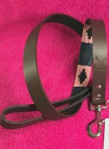 HAWK ARGENTINIAN GAUCHO POLO HAND MADE BRIDLE LEATHER DOG LEAD ONLY PINK & BLUEE