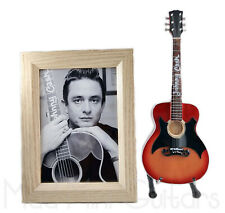Miniature Guitar JOHNNY CASH with Stand + Photo + Frame 5X7