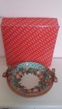 "Fitz & Floyd 1996 Christmas Wreath Large 13"" Round Serving Bowl w/Original Box"