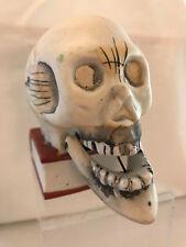 Vintage 1960 Halloween JAPAN Mechanical Ceramic Bobble Mouth Skull Candle Holder