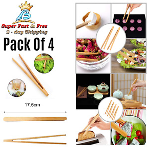 Bamboo Toaster Tongs Kitchen Cooking Toast Bread Pickles Picker Grabber Tool New