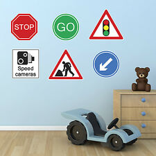 Roadworks Stickers - Set of 6 Road Sign Wall Stickers - Child's Bedroom Stickers