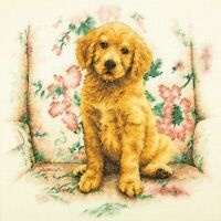 """Dimenions Puppy Counted Cross Stitch Craft Kit, 12"""" X 12"""", 14 Count"""