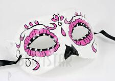 Day of the Dead Sugar Skull Dia de los Muertos Mask Costume Black White Red Pink