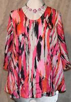 KATE & MALLORY BEAUTIFUL SILKY POLY FLUTTER SLEEVE BLOUSE W/FULL BOTTOM PINKS L