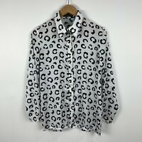 Sinead James The Label Womens Blouse Size 8 Black White Long Sleeve Made Aust