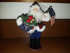 Usa Rustic America Americana Patriotic Flag Fabric Santa Figurine Collectible
