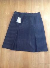 LAURA ASHLEY NAVY PINSTRIPE A LINE KICK FLARE SKIRT UK SIZE 12 BNWT RRP £75