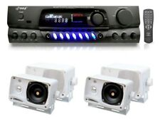 """Pyle PT260A 200 Watts Stereo Receiver & 4 Pyle 3.5"""" Waterproof Outdoor Speakers"""