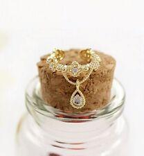 Small Gold Earrings Rhinestone Diamanté Earring Ear Cuff Tear Crystal Drop