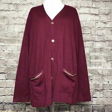 Susan Graver Wine Chain Printed Back Button Front Cardigan Sweater Size Large