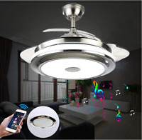 """36""""/42"""" Bluetooth Invisible Ceiling Fan Light Music Player LED Chandelier+remote"""